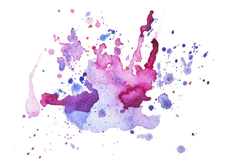 Abstract watercolor aquarelle hand drawn blot colorful paint splatter stain.