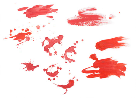 blood splatter: Abstract watercolor aquarelle hand drawn colorful shapes art red color paint or blood splatter stain splash and spray Stock Photo