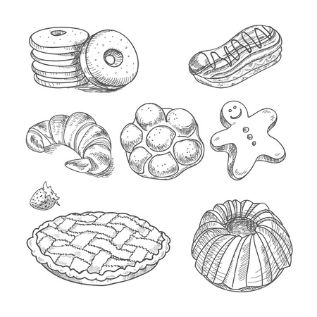 hand drawn sketch confections dessert pastry bakery products donut, pie, croissant, cookie.