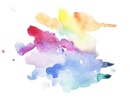 抽象的な水彩 aquarelle 手が白い背景の上青のカラフルなアート ペイント スプラッタ汚れを描いた 写真素材