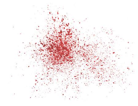 Abstracte hand spuiten getrokken rode druppel splatter vlek bloed splash art dikke verf op een witte achtergrond