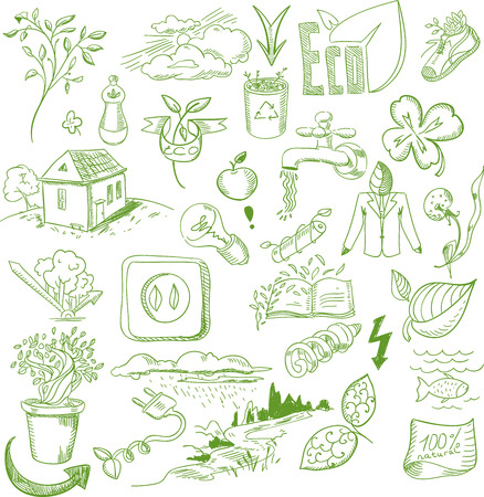 bio diesel: Ecology organic signs eco and bio elements in hand drawn style nature planet protection care recycling save concept.
