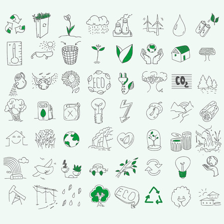 bio fuel: Ecology organic signs eco and bio elements in hand drawn style nature planet protection care recycling save concept.