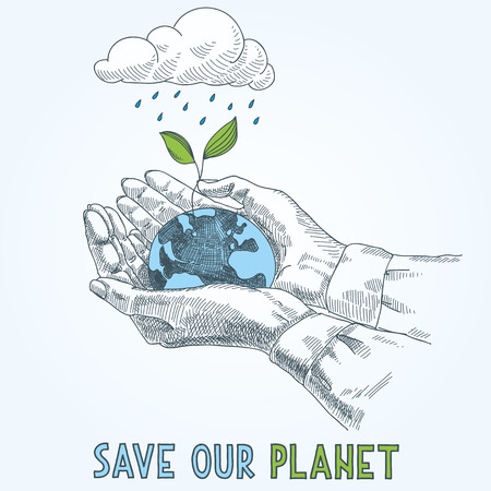the humanities landscape: Earth globe in human hands planet protection care recycling save ecology concept.