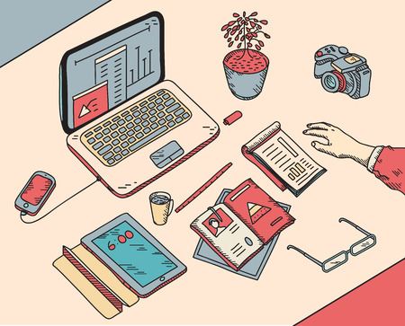 top view sketch hand drawn office or fome workplace freelancer with business objects and items lying on a desk laptop, digital tablet, mobile phone, documents. Illustration