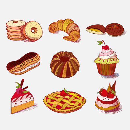 hand drawn sketch confections dessert pastry bakery products donut, pie, croissant, cookie. photo
