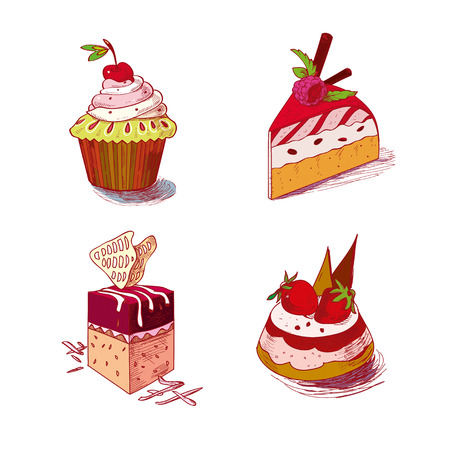 fruitcakes: hand drawn confections dessert pastry bakery products cupcake muffin. Illustration