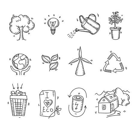 Hand getrokken doodle schets ecologie biologische iconen eco en bio-elementen natuur planeet bescherming zorg recycling besparen concept.