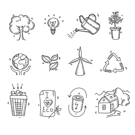 O eco orgânico tirado mão dos ícones da ecologia do esboço da garatuja e o cuidado da proteção do planeta da natureza dos bio elementos que recicl salvar conceito. Foto de archivo - 40037417