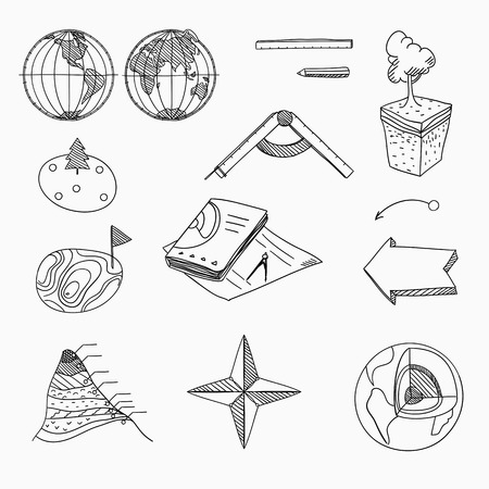 cartography: Geography lesson School objects and educational equipment Cartography and topography Education linear hand drawn icons Illustration