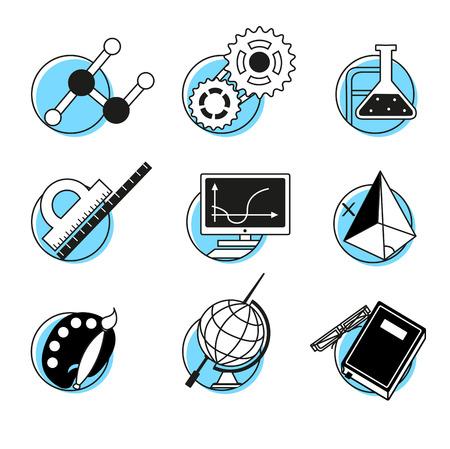 disciplines: Science linear icons set school lessons disciplines concept back to school. Stock Illustratie