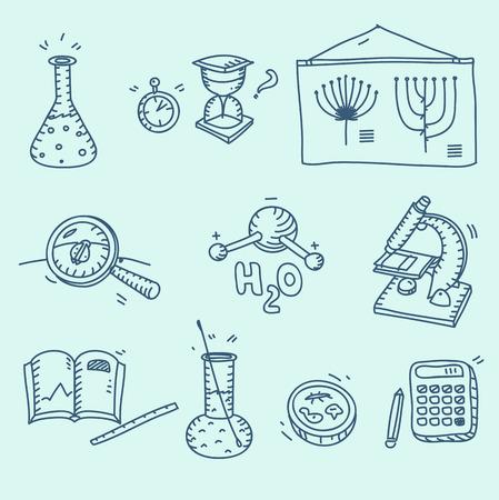 qu�mica: Iconos de la ciencia establecidos biolog�a qu�mica de laboratorio de la escuela investigaci�n experimento y la observaci�n mano del estilo del bosquejo doodle.