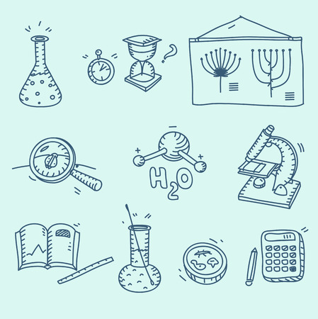 chemistry formula: Science icons set school laboratory chemistry biology experiment investigation and observation hand drawn doodle sketch style. Illustration