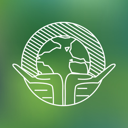 Earth globe in human hands planet protection care recycling save ecology concept linear icon.