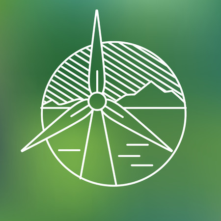 windpower: wind turbine linear icon, eco generating electricity save planet concept Illustration
