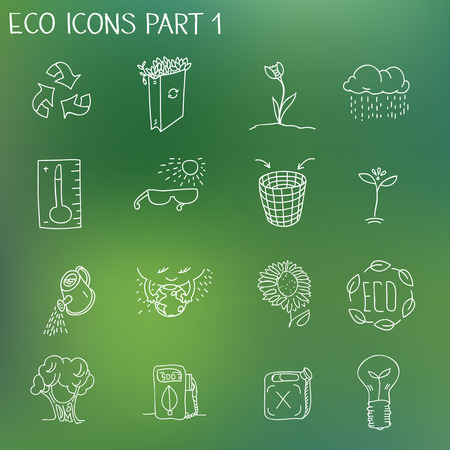 ozone: Ecology organic signs eco and bio elements in hand drawn style nature planet protection care recycling save concept.