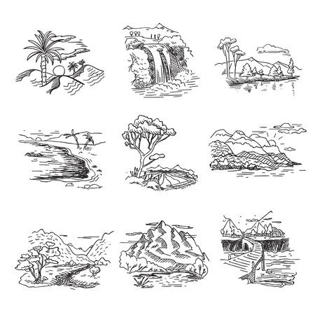 Tiré par la main brouillon doodle croquis nature paysage illustration avec cascade de forêt collines de soleil sur la mer.