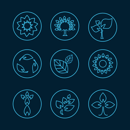 health symbol: nature tree leaves symbols linear style care recycling ecology concept. Illustration