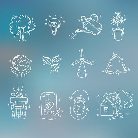 save electricity: Hand drawn doodle sketch ecology organic icons eco and bio elements Blurred background Nature planet protection care recycling save concept.