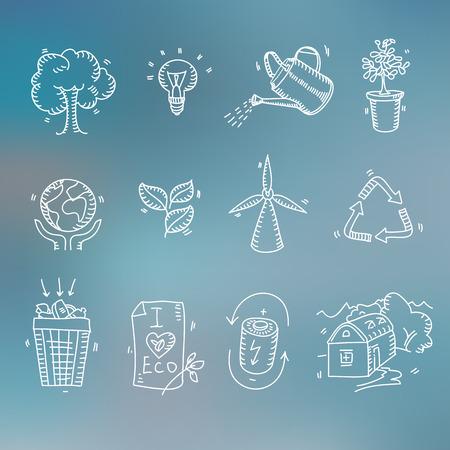 mundo manos: Mano doodle ecología boceto iconos orgánicos eco y bio elementos borrosa reciclaje Naturaleza planeta cuidado fondo guardar el concepto de protección.