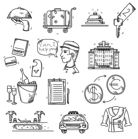 hotel rooms: Hotel Services icons doodle hand drawn style concept vacation summer travel.