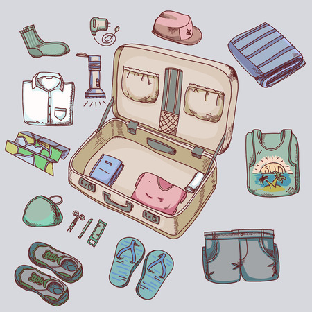 belongings: Suitcase with things clothing for travelling summer vacation
