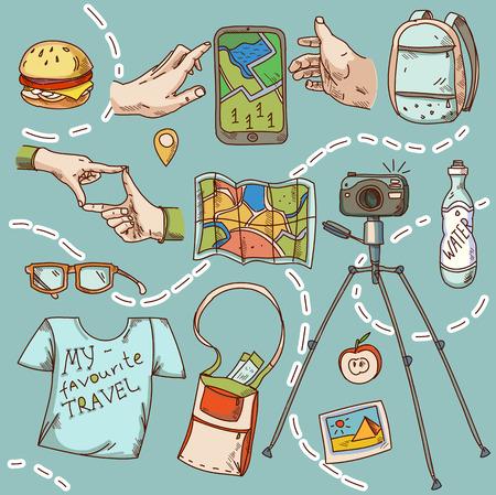 tourismus icon: Reisen und Tourismus Icon Dinge f�r die Reise Sommerurlaub Illustration