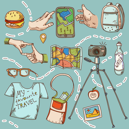 points of interest: Travel and tourism icon things for travelling summer vacation Illustration