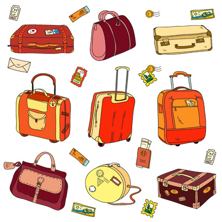 lost world: Collection of vintage travel suitcases with stickers.