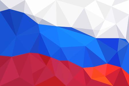 russian flag: Abstract creative triangle geometrical mosaic Russian flag.