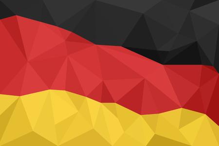 創造的な三角形の幾何学的なモザイクのドイツの国旗を抽象化します。