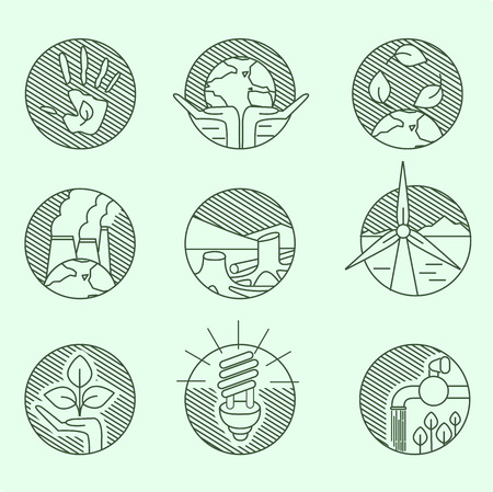 windpower: Ecology organic signs eco and bio elements in hand drawn style nature planet protection care recycling save concept linear icons.