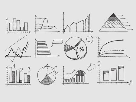 dibujo: Mano Elementos del doodle empate gráfico de la carta. Concepto de las finanzas del negocio estadísticas de análisis de ganancias Vectores