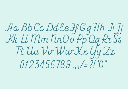 Hand drawin alphabet handwritting abc vector font. Italic type letters, numbers and punctuation marks Illustration