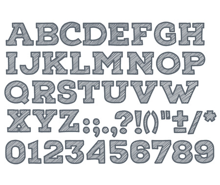 striped: chalk sketched striped alphabet abc vector font. Type letters, numbers, characters and punctuation marks.