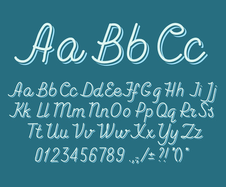 letters of the alphabet: Hand drawin alphabet handwritting abc vector font. Italic type letters, numbers and punctuation marks Illustration