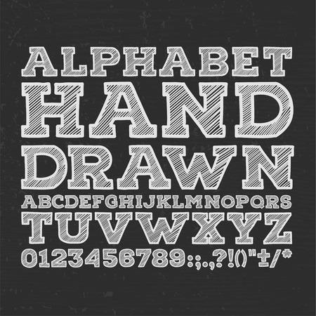 schwarz: Kreide skizziert gestreiften alphabet abc Vektorfont. Geben Sie Buchstaben, Zahlen, Buchstaben und Satzzeichen. Illustration