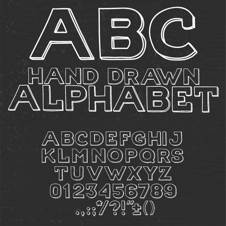punctuation marks: Hand drawin alphabet handwritting abc vector font. Type letters, numbers and punctuation marks. Illustration
