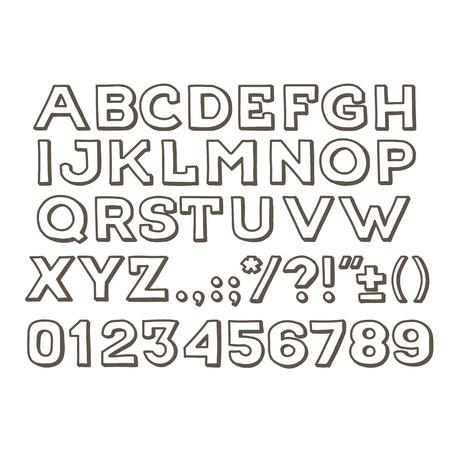 Mano handwritting alfabeto fuente abc vector vendimia drawin hecho a mano. Escriba letras, números y signos de puntuación.