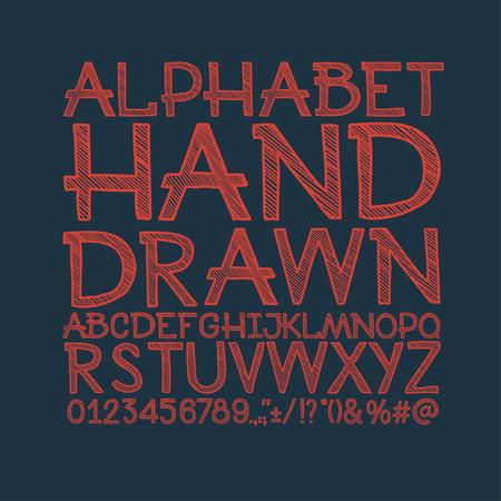 tipos de letras: tiza dibujado alfabeto de rayas fuente abc vectorial. Escriba letras, n�meros, caracteres y signos de puntuaci�n.