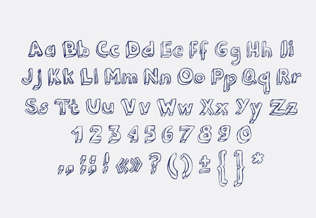 abc kids: Hand drawn alphabet letters doodle scribble childrens abc, vector font. Type, numbers, characters and punctuation marks.