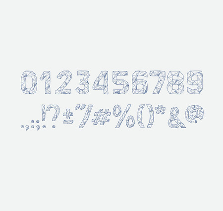 punctuation marks: alphabet abc vector font. Type numbers, characters and punctuation marks Lowpoly Outline with triangles geometric