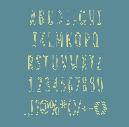 Hand drawin alphabet handwritting abc vector linear font. Type letters, numbers and punctuation marks. Illustration