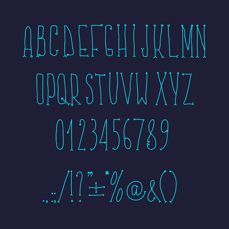 Type letters, numbers and punctuation marks Hand drawin alphabet handwritting abc vector modern font