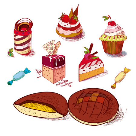 confections: hand drawn confections dessert pastry bakery products cupcake cookie muffin. Illustration