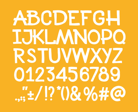 punctuation: Type letters, numbers and punctuation marks Hand drawin alphabet handwritting abc vector font.