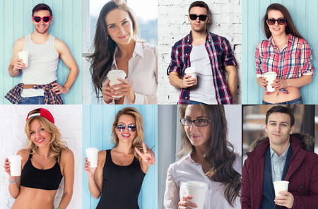 male face profile: Collection of different many happy smiling young people faces caucasian women and men with coffee Concept avatar userpic social