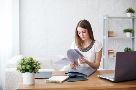 businesswoman with laptop and diary concept freelance work at home, planning, scheduling. Stock Photo - 45719702