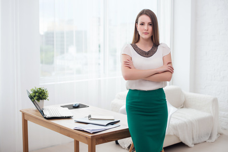 telework: Portait of beautiful successful business woman standing at office Stock Photo