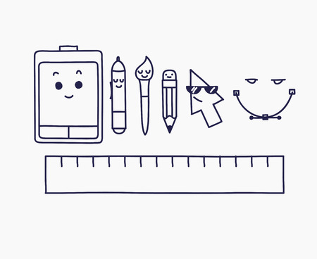 creative tools: linear graphic design creative process concept icons and tools.